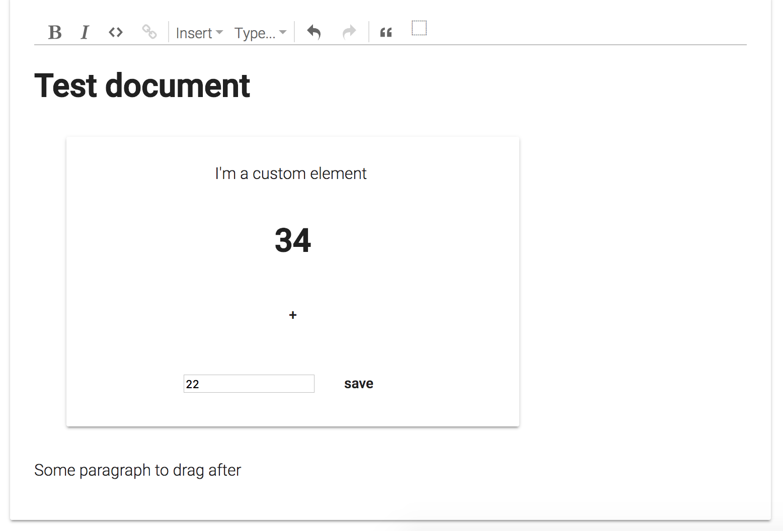 Example for NodeViews with custom elements (WebComponents) and