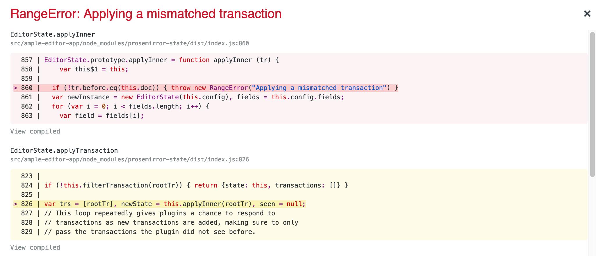 RangeError: Applying a mismatched transaction - discuss